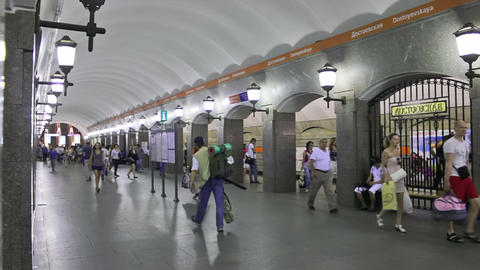 Dostoevskaya, subway, St. Petersburg, Russia Footage