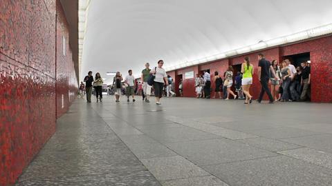 Mayakovskaya, commuters at station, St. Petersburg Stock Video Footage