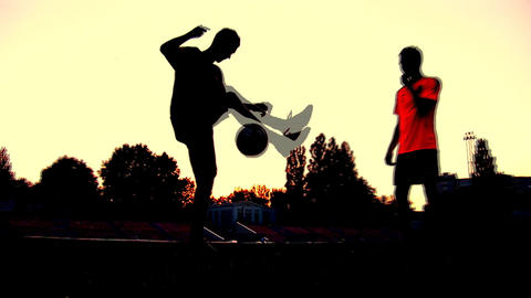 soccer sunset Stock Video Footage