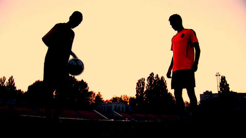 soccer sunset 4 Stock Video Footage
