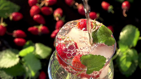 Strawberries , Ice and Mint Footage