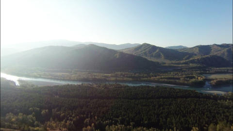 Aerial Stock Footage Mountain Landscape and River  Footage