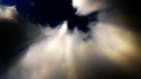 Sun beams streak from billowing time lapse clouds - Cloud FX0102 NTSC, PAL, HD Footage