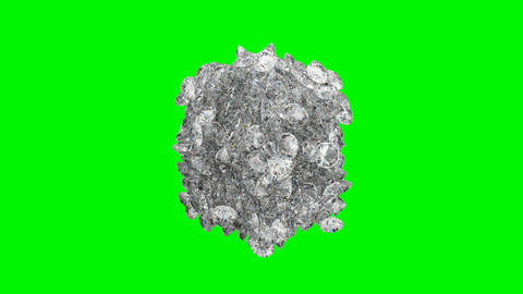Diamonds orb blast or scatter over green screen Animation