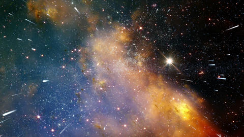 Traveling through star fields in space - The Heavens 0302... Stock Video Footage