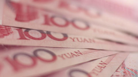 Fan of Chinese Yuan notes Stock Video Footage