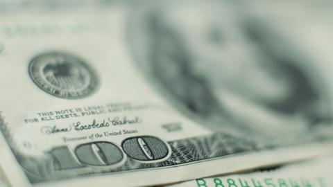 100 dollar bill rack focus Footage