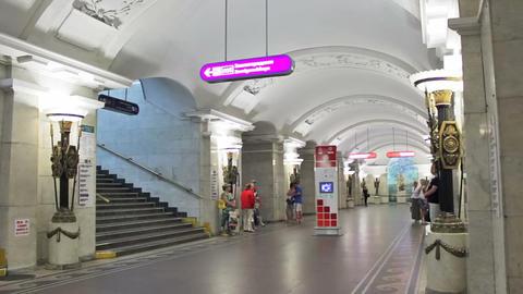 Pushkinskaya, commuters at station, St. Petersburg Stock Video Footage