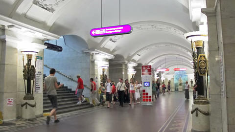 Pushkinskaya, commuters at station, St. Petersburg Stock Video Footage