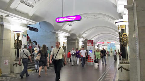 Pushkinskaya, commuters at station, St. Petersburg Footage