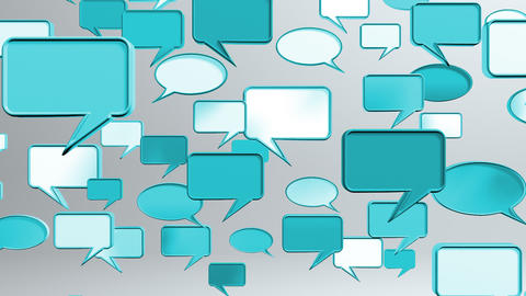 many conversation icons blue Stock Video Footage