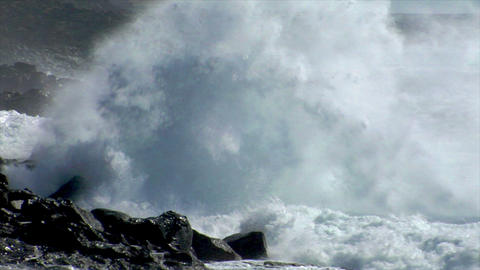 extreme wave crushing coast close Stock Video Footage