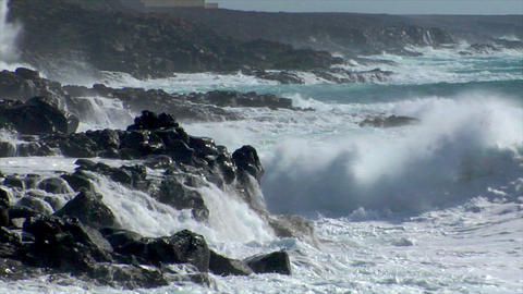 extreme wave crushing coast close Footage