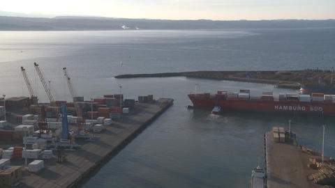 large container ship leaving port Stock Video Footage