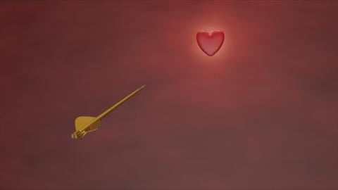 Golden arrow piercing heart Stock Video Footage