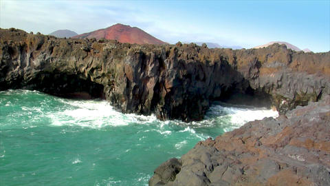 los hervideros vulcan lava cave wave Stock Video Footage