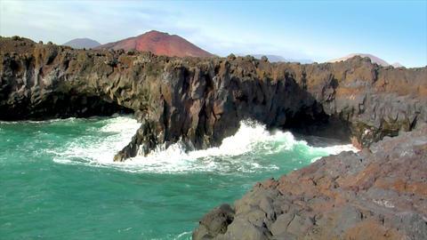 los hervideros vulcan lava cave wave Stock Video Footage