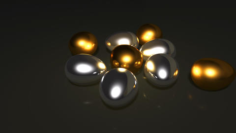 silver and gold eggs Animation