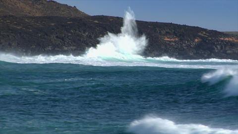 huge cyan wave spray vulcan beach a Footage