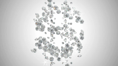 Diamonds US dollar symbol scattering with slow motion Stock Video Footage