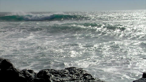 big waves splashing windy audio Footage