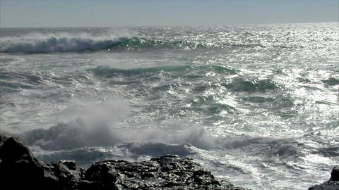 big waves splashing windy audio Stock Video Footage