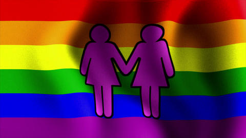 waving rainbow flag two female sign Stock Video Footage