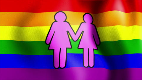 waving rainbow flag two female sign Animation