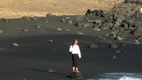 business man toss jacket black beach Stock Video Footage