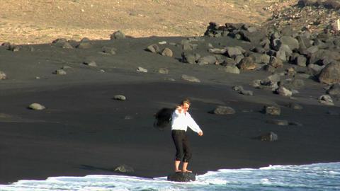 business man toss jacket black beach Footage