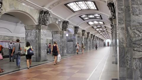 Kirovsky Zavod, subway station, St. Petersburg, Ru Stock Video Footage