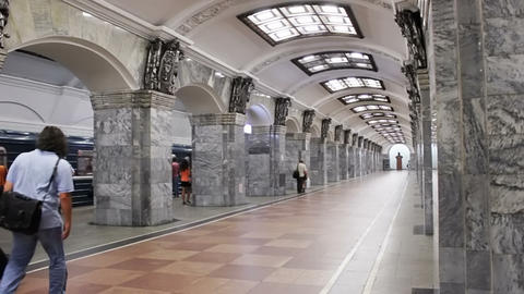 Kirovsky Zavod, subway station, St. Petersburg, Ru Stock Video Footage