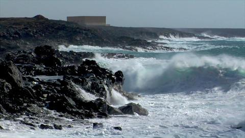 extreme wave crushing coast slowmo Stock Video Footage