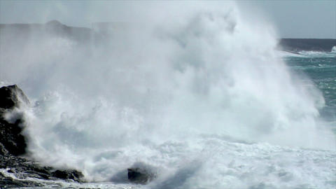 extreme wave crushing coast slowmo Stock Video Footage