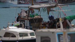 Harbor in Croatia, detail of parked boats Footage