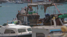 Harbor in Croatia, detail of parked boats Stock Video Footage