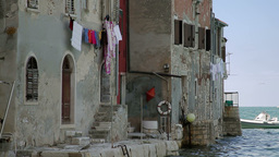 Houses by the sea, Rovinj, Croatia Stock Video Footage