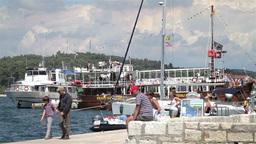 Tourists walking at Rovinj harbor, Croatia Footage