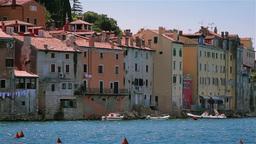 Houses by the sea, Rovinj, Croatia Stock Video Footage