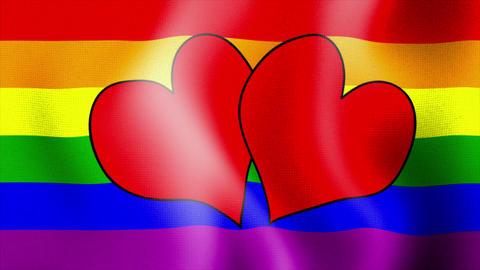 waving rainbow flag hearts Stock Video Footage