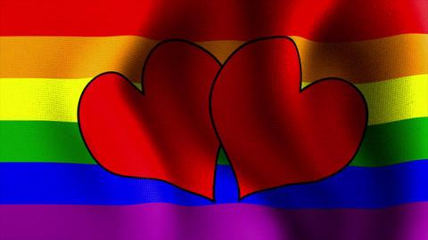 waving rainbow flag hearts CG動画