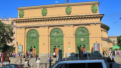 Ground-level vestibule Narvskaya, timelapse, Russi Stock Video Footage