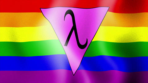 waving rainbow flag lambda triangle Stock Video Footage