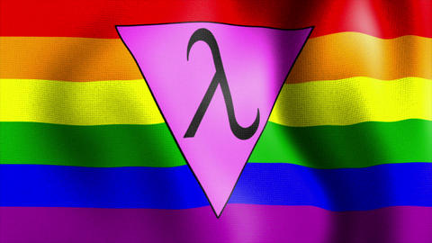 waving rainbow flag lambda triangle Animation