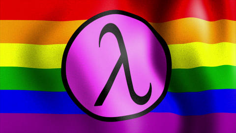 waving rainbow flag lambda sign Animation