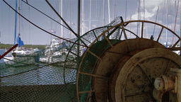 Detail of old fishing boat Footage