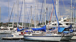 Boats and yachts in Pula Harbor, Croatia Stock Video Footage