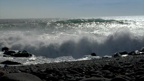 turbulent waves splashing low angle audio Stock Video Footage