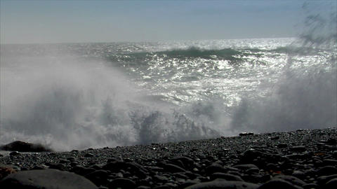 turbulent waves splashing low angle audio Footage
