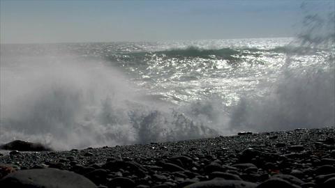 turbulent waves splashing low angle audio Stock Video Footage